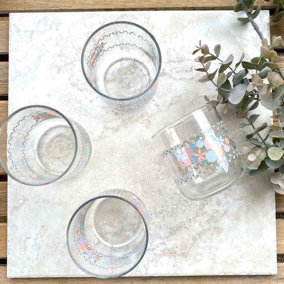 Vintage pastel floral juice glasses set of 4